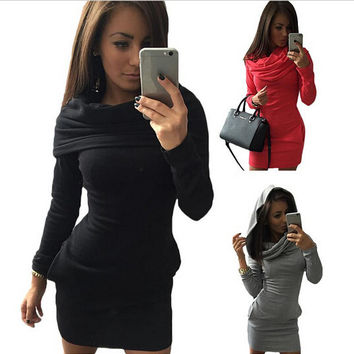 New 2016 Autumn Winter Women Casual Dress Solid Sheath Sexy Dresses Bandage Long Sleeve O-Neck Mini Slim Vestidos Black