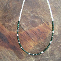 Fresh Pearls and Green Sand Stone Necklace, Gemstone Beaded Jewelry, Pearl Geode Elegant Jewellery