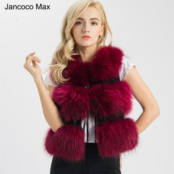 Jancoco Max 2018 Five Colors Real Fur Vest Women Genuine Raccoon Fur Gilet Waistcoat Winter New Fashion 3 Rows Vest S1150SJ