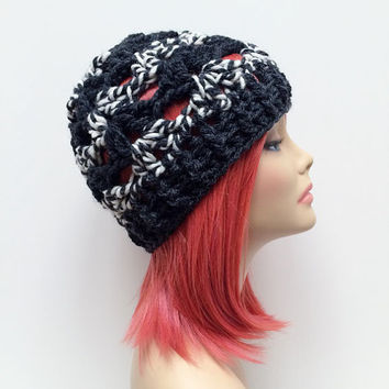 FREE SHIPPING - Crochet Chunky Beanie Hat - Charcoal, Gray, Black, White