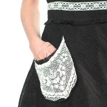 High waist black skirt, canvas with lace skirt, black skirt with white lace, a line skirt with pockets