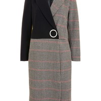 Checked Colour Block Coat