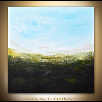 Landscape painting original large painting 36x36 green blue square abstract oil painting seascape modern art by L.Beiboer