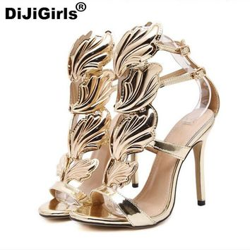DiJiGirls favorite luxury metal wings fine with high heels sexy fashion high quality sandals shoes woman gladiator free shipping