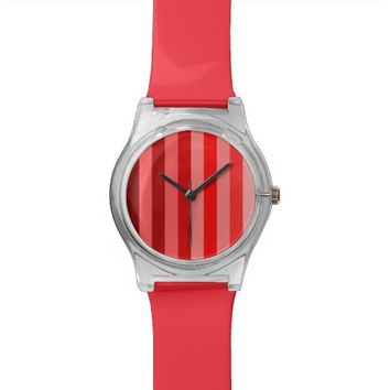 Color Block Stripes Monochrome Shades of Red Watch