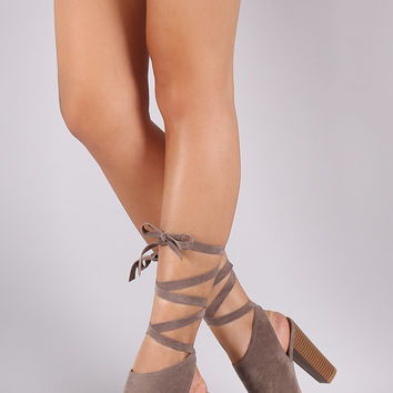 Bamboo Mule Lace Up Chunky Heel