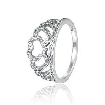 Compatible with Pandora Jewelry Clear CZ Hearts Tiara Crown Silver Ring 100% 925 Sterl