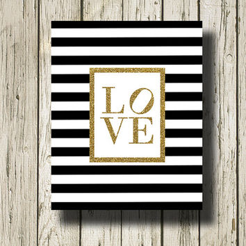 LOVE Gold Glitter Print Black and White Stripe Printable Instant Download Digital Art Print Wall Art Home Decor G134gggst