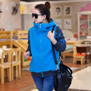 Women's Casual Color Splicing Print Hooded Sweatshirt Hoodie Coat Outwear - Available 2 Great Colors!