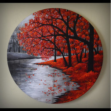 "ORIGINAL Fine Art Abstract Landscape Contemporary Autumn Forest Acrylic Painting Home Decor 20"" Round Canvas, great gift"