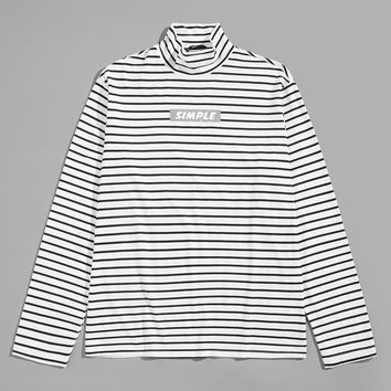 Men Mock-Neck Striped Tee