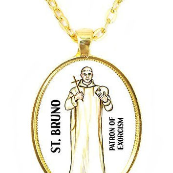 St Bruno Patron Saint of Exorcism Huge 30x40mm Bright Gold Pendant with Chain Necklace