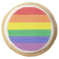 Painted Rainbow Flag Round Shortbread Cookie