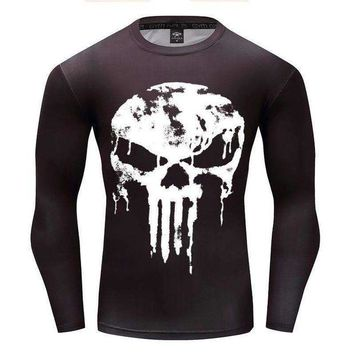 ONETOW est long sleeve 3d t shirt men crossfit tops punisher superhero skull superman tshirt men fitness compression shirt