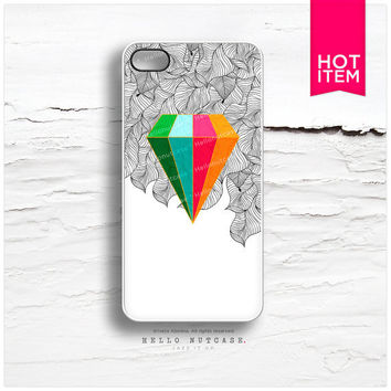 iPhone 4 and iPhone 4S case Multicolor Crystal on Doodle, Geometric Crystal iPhone Case, Crystal iPhone Cover, Floral iPhone Case C53