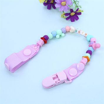 New Baby Pacifier Clip Pacifier Chain Hand Made Funny Colourful Beads Dummy Clip Baby Soother Holder for Baby Kids