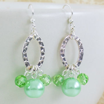 Oval Hoop Earrings, Silver Earrings with Mint Pearls, Trillium Collection