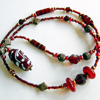 Bohemian necklace, Lampwork necklace, Long necklace, Red necklace, Lampwork pendant, Glass bead necklace, Lampwork jewelry, BoHo chic, OOAK