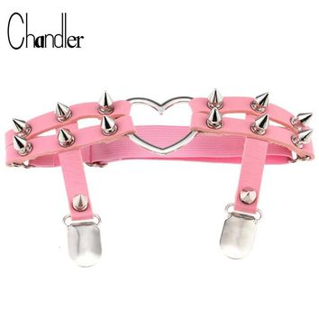 Chandler 2017 Heart Love Rivet Leg Necklace Sock Belt For Women Punk Gothic PU Leather Harness Garter Harajuku Sexy Goth Jewelry
