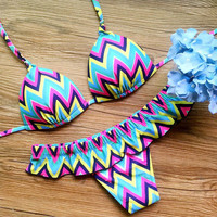 Geometric Stripes Bikini Swimsuit Split Wave Print Swimwear