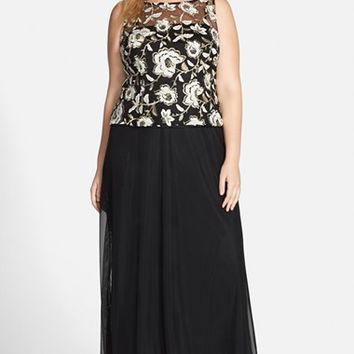 Plus Size Women's Alex Evenings Embroidered Bodice Gown,