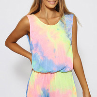 Tie-Dye Open Back Tassel Playsuit