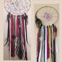 Made To Order Unique Doily Dreamcatchers with Ribbons, Gemstones, Pendants, Beads, and More