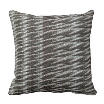 Silver Glitter Ropes Throw Pillow