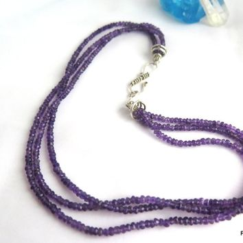 3 Strand Amethyst Sterling Silver Necklace
