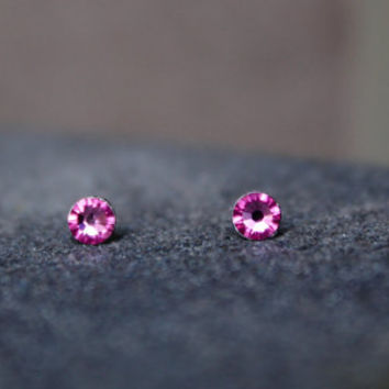 Pink Swarovski Stud Earrings, Rose studs, Tiny Studs, Surgical steel Earrings, small studs