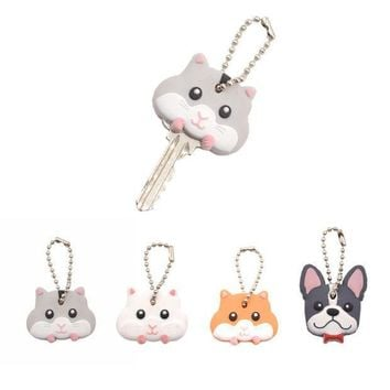 ESBON5U Lychee  Cute Mouse French Bulldog Shape PVC Key Cover Cap Key Chain Rubber Key Ring
