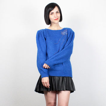 Vintage 80s Sweater Cobalt Blue Sequin Beaded Jumper 1980s Sweater Cozy Pullover Royal Blue Puff Sleeve New Wave Jumper M Medium L Large