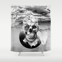 Skeleton Shower Curtain by RIZA PEKER