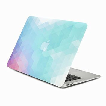 """UNIK CASE-Purple Light Blue Gradient Ombre Triangular Galore Graphic Ultra Slim Light Weight Matte Rubberized Hard Case Cover for Macbook Air 13"""" 13-Inch Model: A1369 and A1466"""
