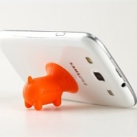 1pc Orange Mini Pig Shaped Stand with Anti-dust Plug for Apple Iphone Ipod, Useful Ipod, Iphone, Earphone Accessory
