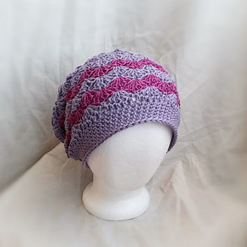 crochet slouch hat spring chevron cotton cloche hat shell fan pattern fuchsia purple