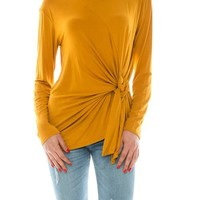 long sleeve top with twisted knot detail
