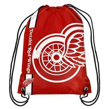 Detroit Red Wings   Drawstring Backpack Digital Printing Pouch NHL 100D Polyester brass grommets custom flag, Free Shipping