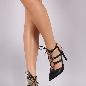Anne Michelle Pointy Toe Caged Lace Up Stiletto Pump