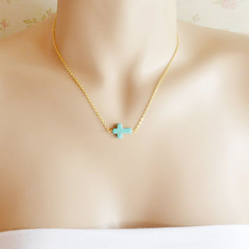 Turquoise Cross Sideways Necklace,Celebrity Jewelry,Everyday Necklace,14K Gold Filled Necklace,Gift for Her,14K Gold Chain,Wire Wrapped