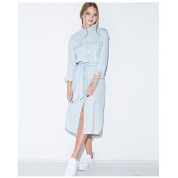 PLT Retro Denim Midi Shirt Dress