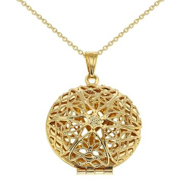 """Gold Tone Perforated Round Photo Locket Pendant Family Love Necklace 19"""""""