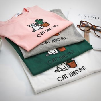 Cute Embroidery Letter And Cat Short Sleeves Crop T-shirt Top
