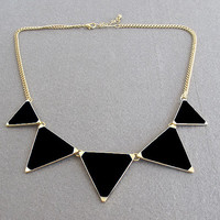 Black Triangle Punk Necklace