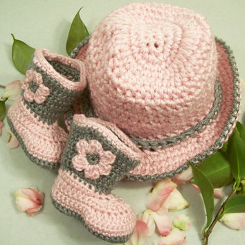 Western Hat and Boots -Baby Girl Cowboy Gift Set-Pink and Gray-