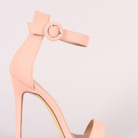 Liliana Nubuck Ankle Strap Open Toe Stiletto Heel