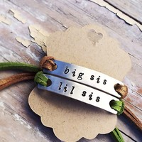 Customizable sister bracelets with suede straps. One size fits All.