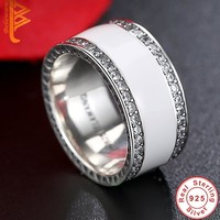 BELAWANG Anti Allergy 3 Rounds Cubic Zirconia Engagement Rings Sets 925 Sterling Silver Crystal Wedding Jewelry Ring For Women