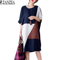 Plus Size ZANZEA Womens Summer Patchwork O-Neck Short Sleeve Pockets Party Vestido  Baggy Casual Long Shirt Dress Kaftan