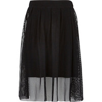 River Island Girls black midi netted overlay skirt